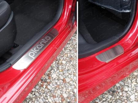 Накладки на пороги (лист шлифованный надпись Picanto) Kia Picanto 2015 KIAPIC15-06